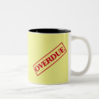 Overdue Stamp - Red Ink Yellow Background Two-Tone Coffee Mug