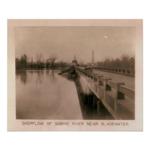 Overflow of Sabine River Near Gladewater, TX 1932 Poster