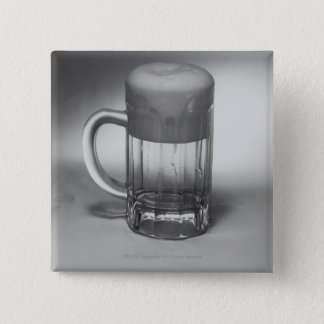 Overflowing beer glass pinback button