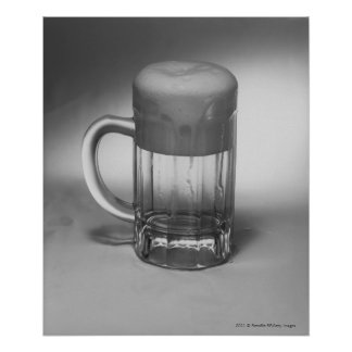 Overflowing beer glass poster