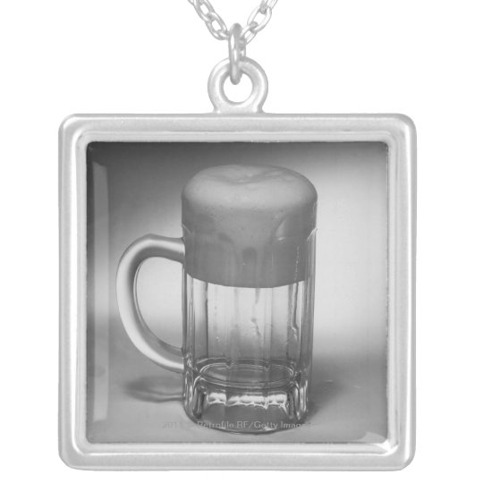 Overflowing beer glass silver plated necklace