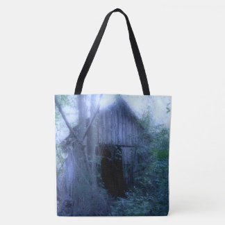 Overgrown Shed in Fog Totes