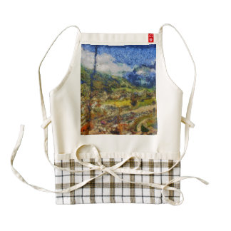 Overhead view from a cable car zazzle HEART apron