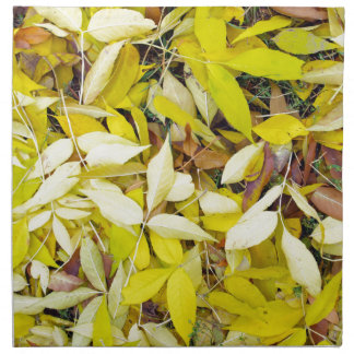 Overhead view of a background of yellow autumn lea cloth napkin
