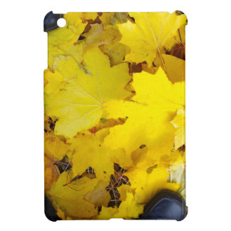 Overhead view of a foot in the autumn boots three iPad mini case