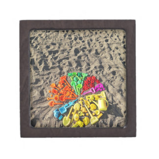 Overhead view of colourful children's plastic gift box