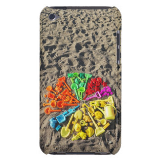Overhead view of colourful children's plastic iPod touch cover
