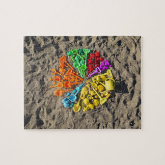 Overhead view of colourful children's plastic jigsaw puzzle