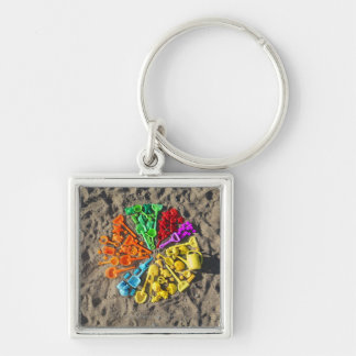 Overhead view of colourful children's plastic keychain
