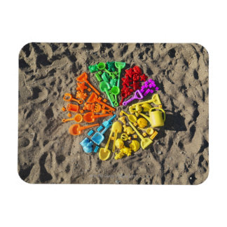 Overhead view of colourful children's plastic magnet