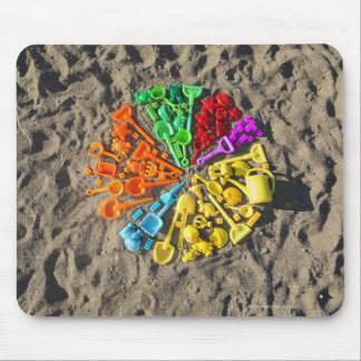Overhead view of colourful children's plastic mouse pad