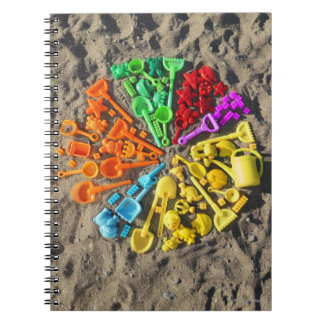 Overhead view of colourful children's plastic notebook