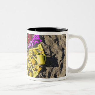 Overhead view of colourful children's plastic Two-Tone coffee mug