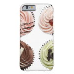 Overhead view of four cup cakes on white barely there iPhone 6 case