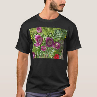 Overhead View of Purple Tulips Basic Black T-shirt
