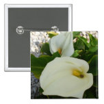 Overhead View Of Two Calla Lilies In A Garden 2 Inch Square Button