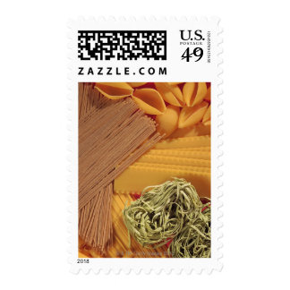 Overhead view of various pasta postage stamps