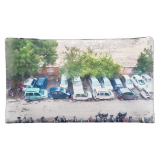 Overhead view of vehicles and bikes makeup bag