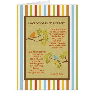 """Overheard in an Orchard"" (Robin and Sparrow) Card"