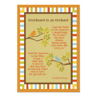 """""""Overheard in an Orchard"""" (Robin and Sparrow) Poem Card"""
