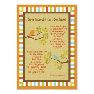 """Overheard in an Orchard"" (Robin and Sparrow) Poem Custom Invites"
