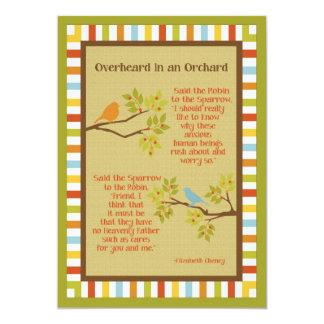 """""""Overheard in an Orchard"""" (Robin & Sparrow) Poem Custom Invites"""