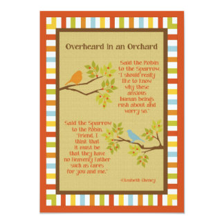 """Overheard in an Orchard"" (Robin & Sparrow) Poem 5x7 Paper Invitation Card"