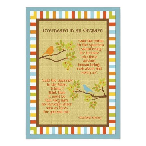 """Overheard in an Orchard"" (Robin & Sparrow) Poem Invitations"