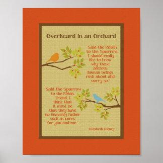 """""""Overheard in an Orchard"""" (Robin & Sparrow) Print"""