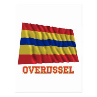 Overijssel Waving Flag with Name Postcard