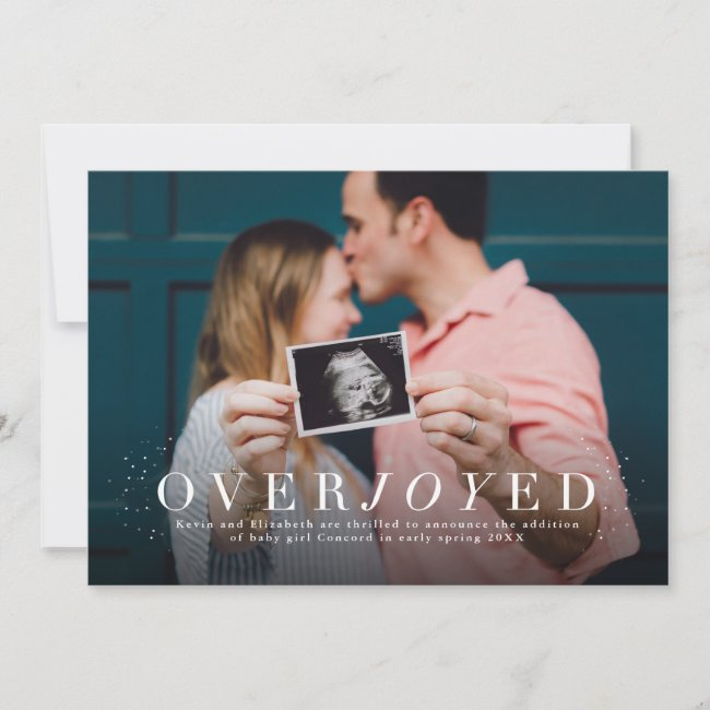 Overjoyed holiday photo pregnancy announcement