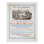 Overland Mail Route to CA. (1257A) - Restored Poster