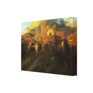 Overland Trail by Johnson, Vintage American West Stretched Canvas Print