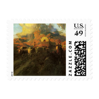 Overland Trail by Johnson, Vintage American West Postage Stamps