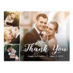 Overlapped Photos Wedding Thank You Card Postcard at Zazzle