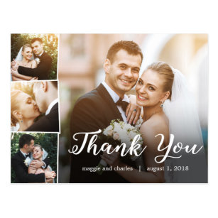 Overled Photos Wedding Thank You Card Postcard
