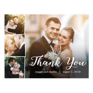Wedding thank you cards zazzle overlapped photos wedding thank you card postcard junglespirit Image collections