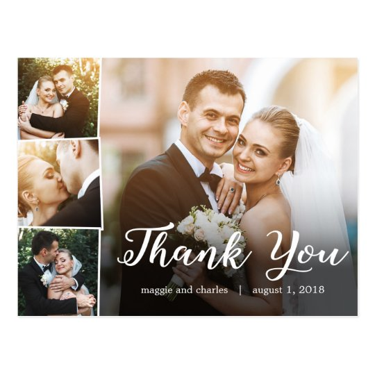 overlapped photos wedding thank you card postcard - Wedding Thank You Cards