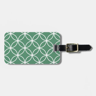 Overlappin Circles Sage Green White Pattern Tags For Luggage