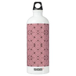 Overlapping art deco lines tiles, light amaranth aluminum water bottle