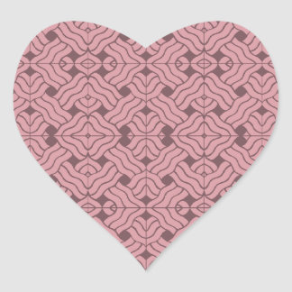 Overlapping art deco lines tiles, light amaranth heart sticker