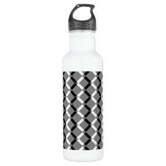 Overlapping Black and White Zigzag Lines Water Bottle