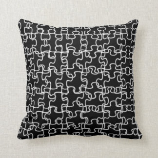 Overlapping black puzzle decor pillow