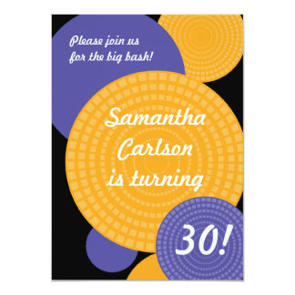 "Overlapping Circles Birthday Invitation 4.5"" X 6.25"" Invitation Card"