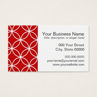 Overlapping Circles Geometric Pattern Red White Business Card