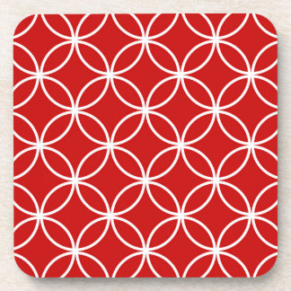 Overlapping Circles Geometric Pattern Red White Coaster