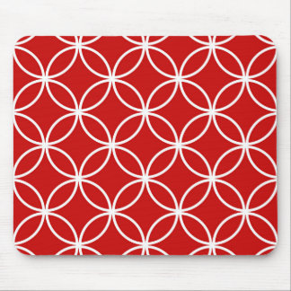 Overlapping Circles Geometric Pattern Red White Mousepad