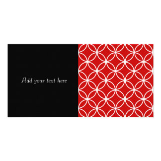 Overlapping Circles Geometric Pattern Red White Photo Card