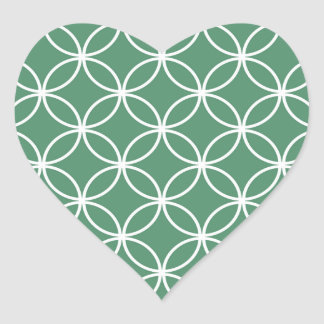 Overlapping Circles Pattern Sage Green White Heart Sticker
