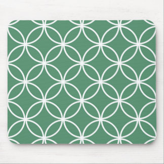 Overlapping Circles Pattern Sage Green White Mouse Pad